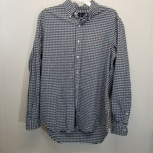 Ralph Lauren M Dress Shirt Black White Gingham